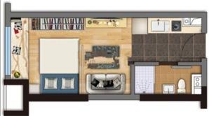翠屏水晶广场 1室1厅1卫 33平方米 精装