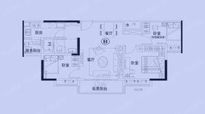 碧桂园秦淮世家 3室2厅1卫 105平方米 精装