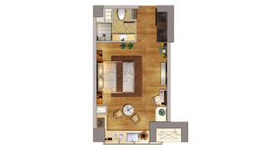 升龙汇金中心 1室1厅1卫 47.94平方米 精装
