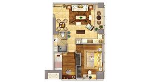 升龙汇金中心 2室1厅1卫 93.37平方米 精装