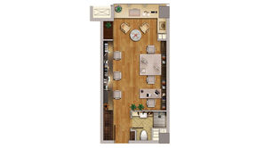 升龙汇金中心 1室1厅1卫 39.59平方米 精装