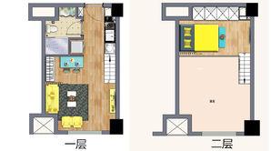 中南乐尚MALL公寓 1室2厅1卫 35.06平方米 毛坯