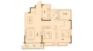 金色里程 2室2厅1卫 98平方米 毛坯