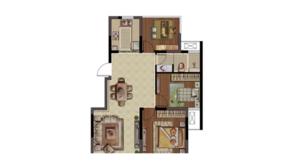 紫金铭苑 3室2厅1卫 88平方米 毛坯
