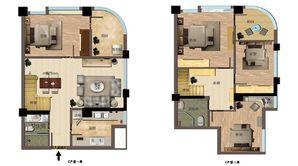 东方红郡天赋广场 2室2厅2卫 73平方米 毛坯