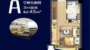 银城KINMA Q+社区 1室1厅1卫 45平方米 精装