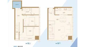 南京金奥缤润汇 2室2厅1卫 64.42平方米 毛坯