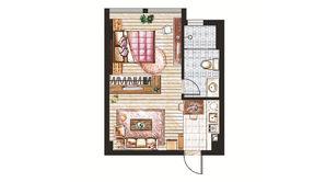 锁金村68号 1室1厅1卫 37.67平方米 精装