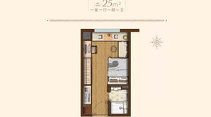 绿地理想城 1室1厅1卫 25平方米 精装