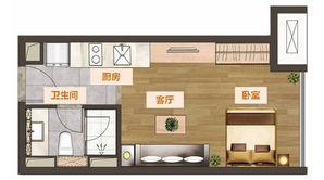 建发紫悦广场 1室1厅1卫 37平方米 精装