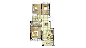 明发云庭 3室2厅1卫 89平方米 毛坯