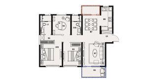 金象朗诗红树林 3室2厅2卫 119平方米 精装