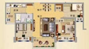 碧桂园凤凰城 3室2厅1卫 101平方米 精装