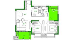 泰达青筑 3室2厅1卫 89平方米 精装