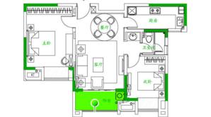 泰达青筑 2室2厅1卫 81平方米 精装