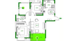 泰达青筑 3室2厅1卫 102平方米 精装