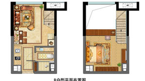 金地中心菁华 1室2厅1卫 32平方米 精装