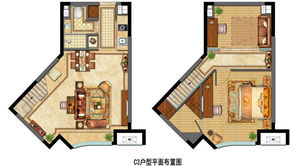 金地中心菁华 2室2厅1卫 52平方米 精装