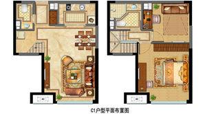 金地中心菁华 2室2厅2卫 56平方米 精装