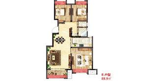 荣耀府 3室2厅1卫 90平方米 毛坯