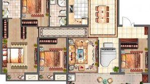 中南熙悦 4室2厅2卫 143平方米 毛坯