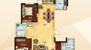 力拓悦城 3室2厅2卫 136.07平方米 毛坯