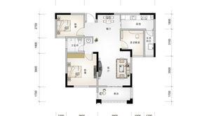 北江锦城 3室2厅1卫 100平方米 毛坯