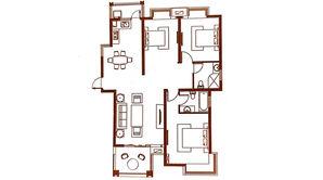 北江锦城 3室2厅2卫 125平方米 毛坯