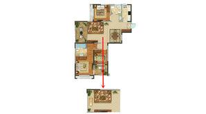 恒辉假日广场 3室2厅2卫 124平方米 毛坯