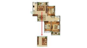 恒辉假日广场 3室2厅1卫 106平方米 毛坯