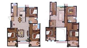 恒辉假日广场 4室2厅3卫 228平方米 毛坯