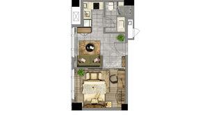 汉中公馆 1室1厅1卫 52.55平方米 精装