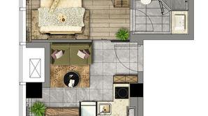 汉中公馆 1室1厅1卫 41.11平方米 精装