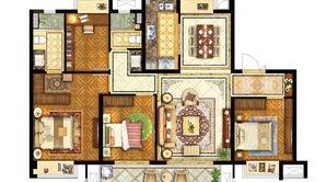 保利罗兰春天 4室2厅2卫 122.65平方米 毛坯