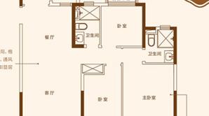 恒大悦澜湾 3室2厅2卫 122.99平方米 毛坯