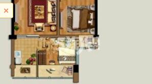 明发财富中心 2室2厅1卫 68.97平方米 毛坯