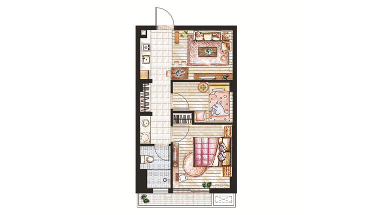 56平米户型一室一厅一卫