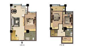 东方红郡天赋广场 2室2厅2卫 66平方米 毛坯